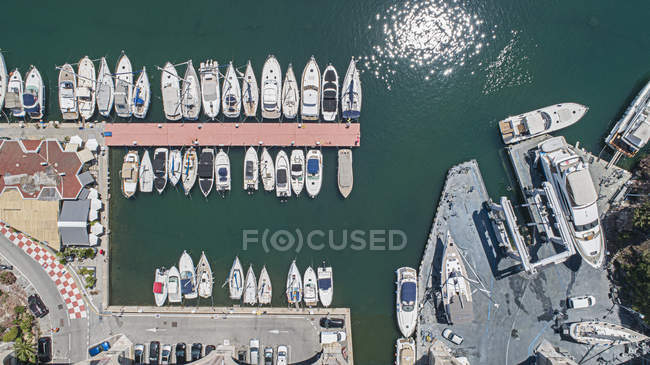 Aerial view from above sunny boats and yachts moored in harbor, Theoule-sur-Mer, Alpes-Maritimes — Stock Photo