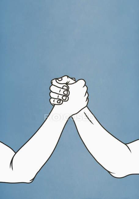 Uomini braccio di ferro su sfondo blu — Foto stock