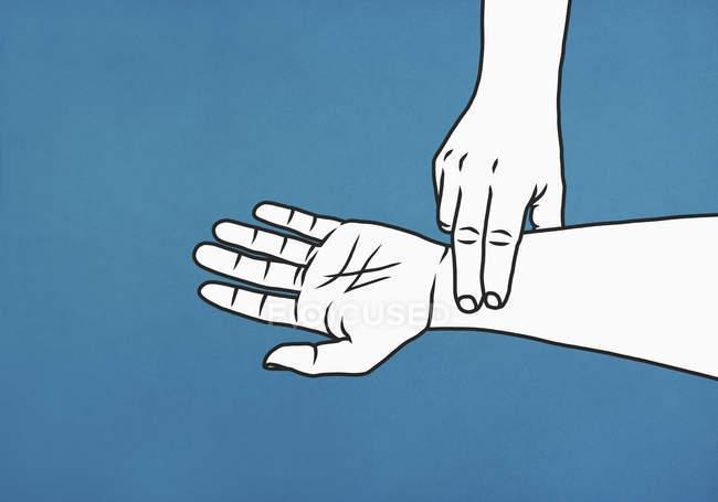 Homme vérifiant pouls au poignet — Photo de stock