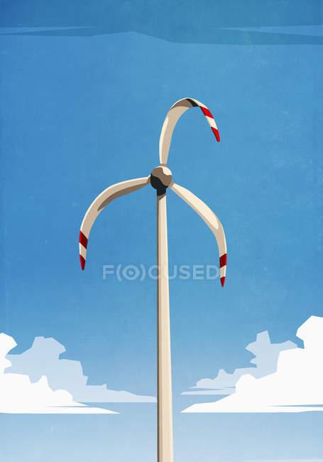 Талая ветряная турбина против голубого неба — стоковое фото