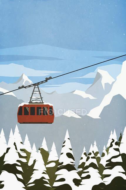 Ski gondole ascension montagne — Photo de stock