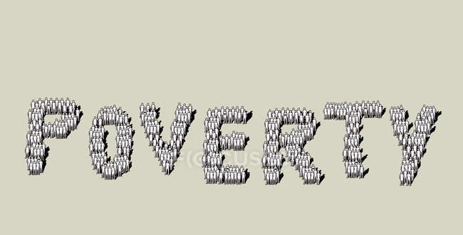 Texto sobre pobreza na formação de multidões — Fotografia de Stock