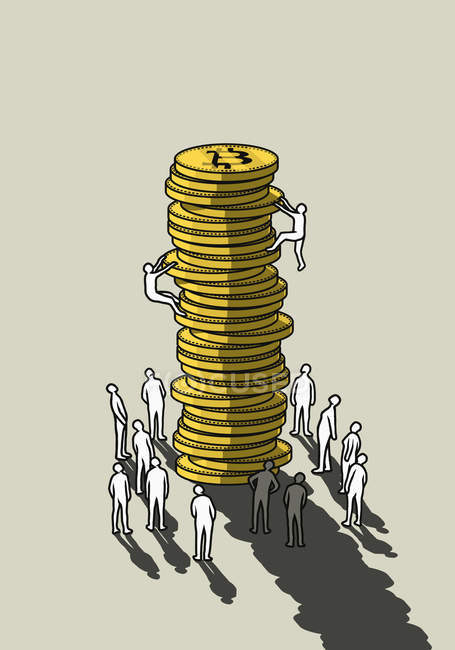 People climbing tall stack of Bitcoins — Stock Photo