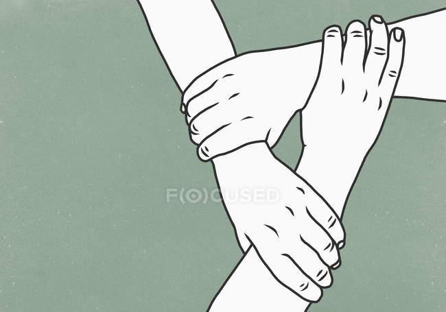 Mani che tengono i polsi a sostegno — Foto stock