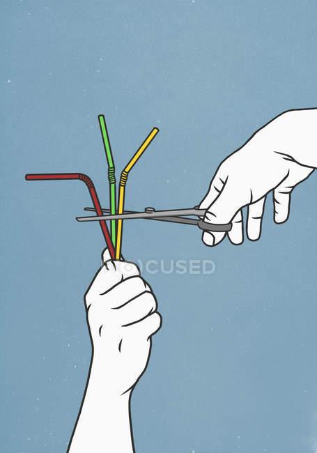 Immagine ritagliata di persone con forbici cannucce da taglio — Foto stock