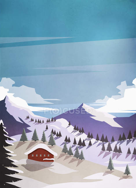 Scenic view of house among snowy mountains — Stock Photo
