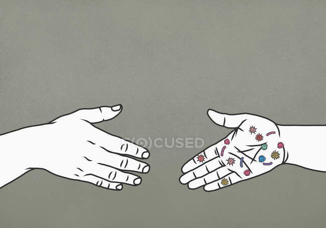 Hand with bacteria reaching to shake hands — Stock Photo