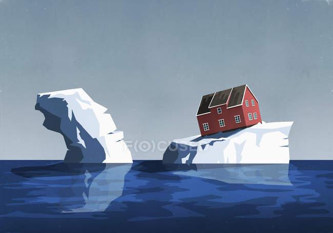 Дом неустойчиво сидел на айсберге — стоковое фото
