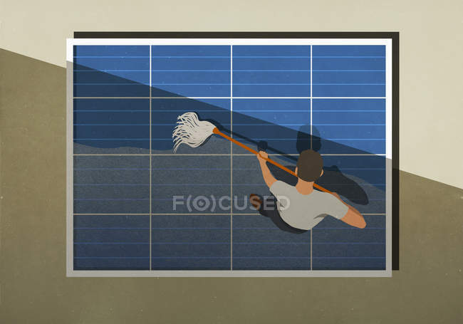 Man mopping solar panels — Stock Photo