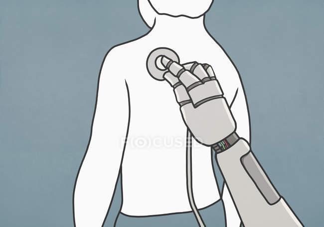 Робот со стетоскопом исследует спину человека — стоковое фото