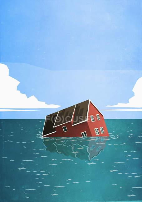 Casa affondamento in mare — Foto stock