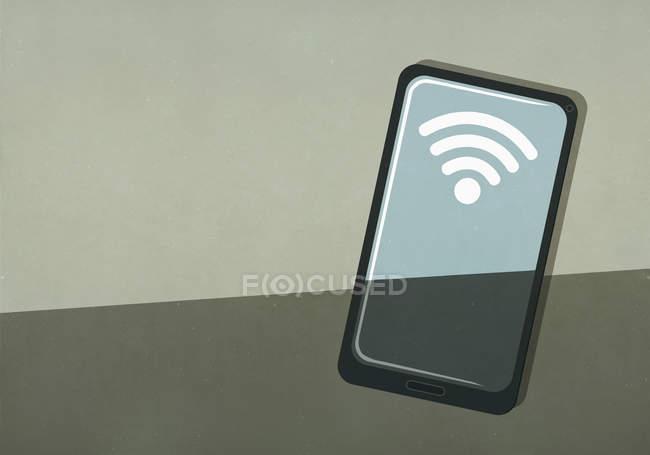 Сигнал WiFi на экране смартфона — стоковое фото