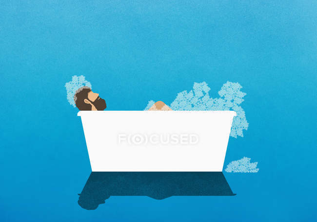 Man enjoying bubble bath — Stock Photo