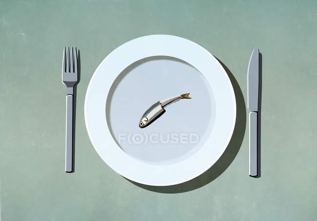 Sardinha meio comida no prato — Fotografia de Stock