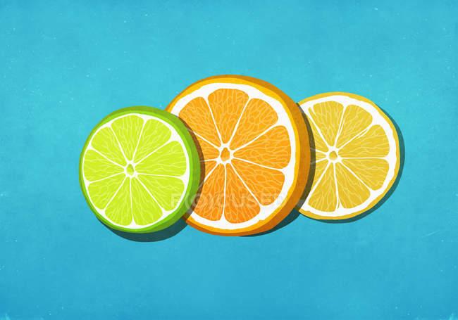 Frische, lebendige Limetten-, Orangen- und Zitronenscheiben auf blauem Hintergrund — Stockfoto