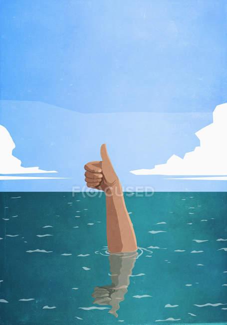 Mão afundando gesticulando polegares para cima no mar — Fotografia de Stock