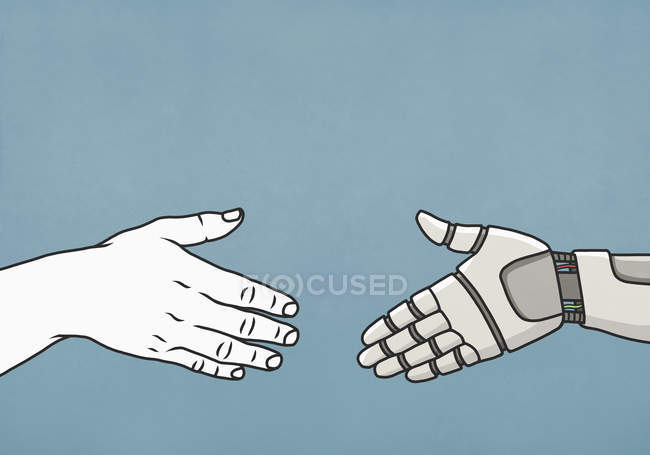 Human and robot shaking hands — Stock Photo