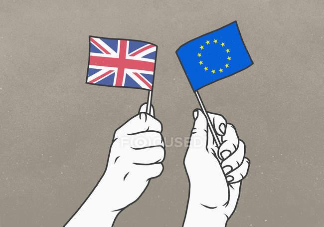Homens acenando pequenas bandeiras britânicas e da União Europeia — Fotografia de Stock
