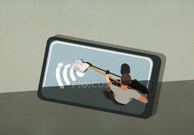 Hombre fregar símbolo wifi en la pantalla del teléfono inteligente - foto de stock