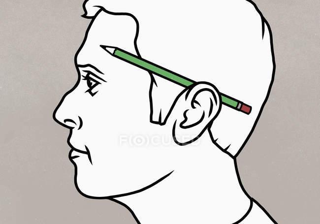 Lápis sobre a orelha dos homens — Fotografia de Stock