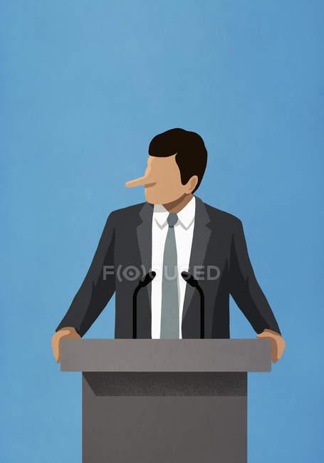 Лежащий политик с длинным носом, выступающий на трибуне — стоковое фото