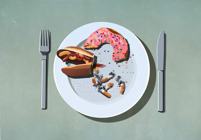 Half-eaten hot dog, donut and cigarette butts on plate — Stock Photo