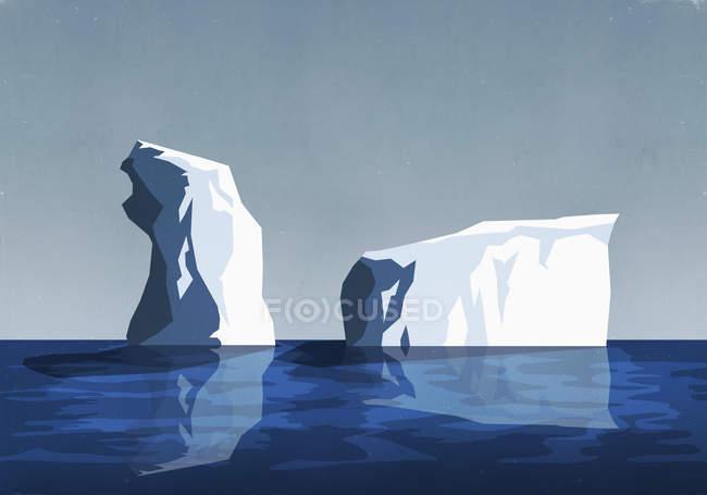 Iceberg nell'acqua blu del mare — Foto stock