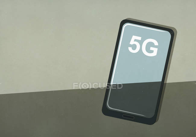 5G text on smartphone screen — Stock Photo