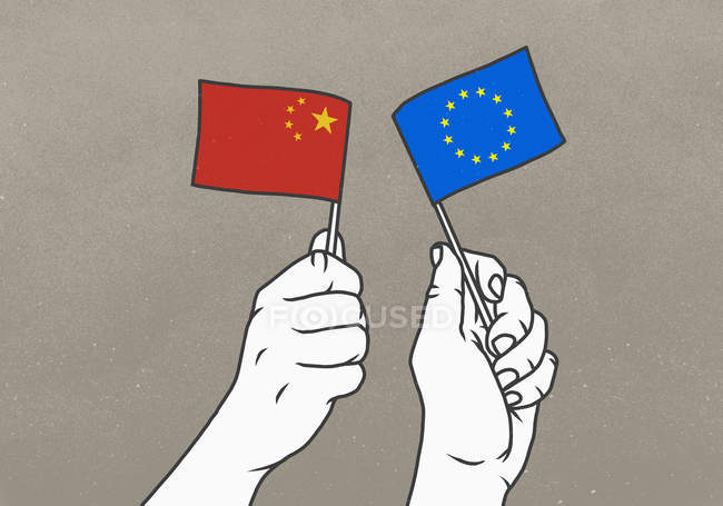 Men waving Chinese and European Union flags — Stock Photo