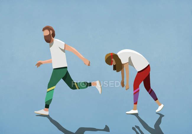 Втомлена дружина біжить позаду чоловіка. — стокове фото