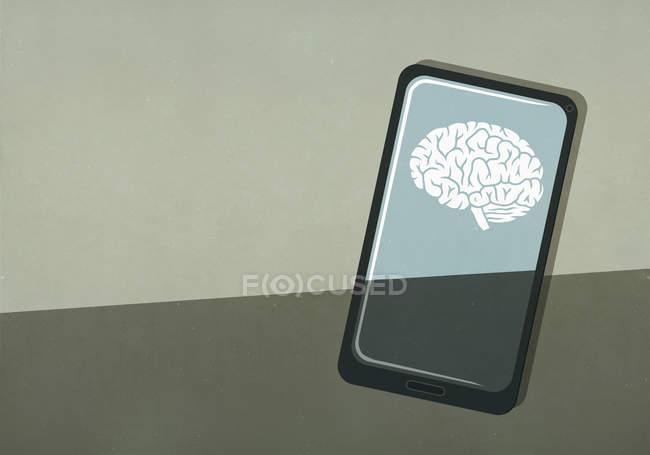 Зображення мозку на екрані смартфона. — стокове фото