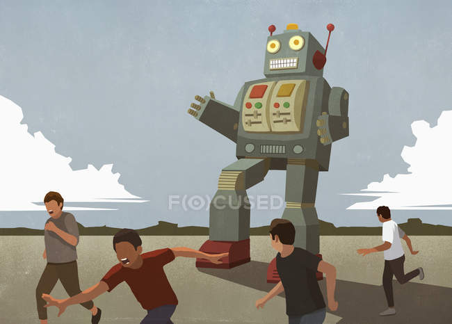 Large robot chasing boys — Stock Photo