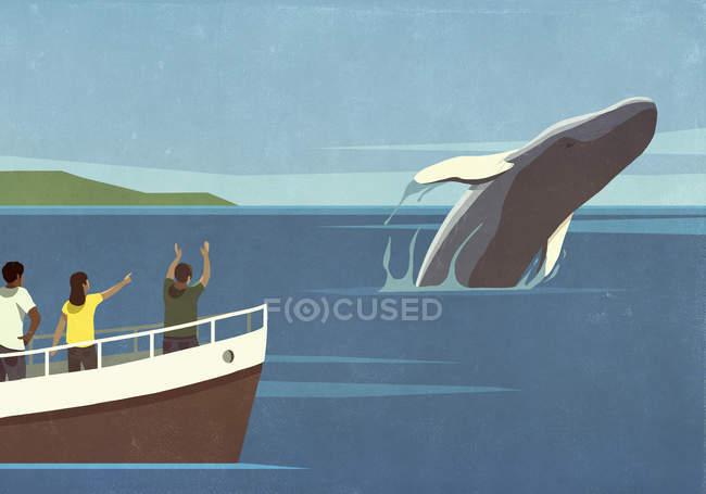 Turistas em barco assistindo brecha baleia no oceano — Fotografia de Stock