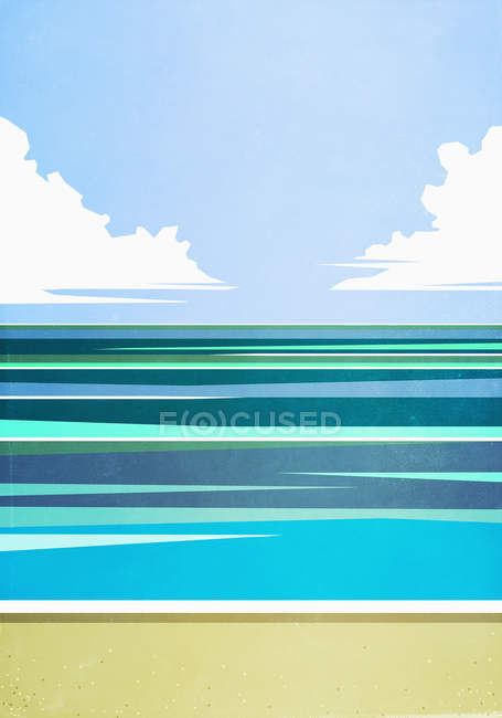 Scenic seascape view tranquil blue ocean — Stock Photo