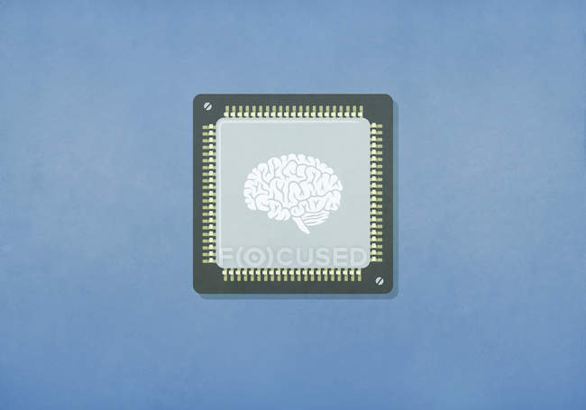 Зображення мозку на комп'ютерній чіпі. — стокове фото