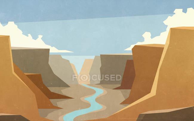 Malerische Schlucht und Flusslandschaft — Stockfoto