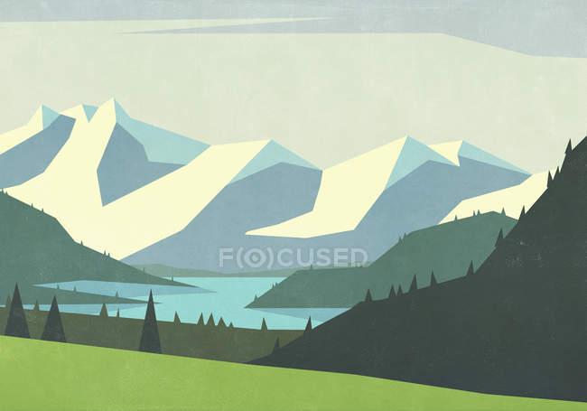 Живописные горы и спокойная река — стоковое фото
