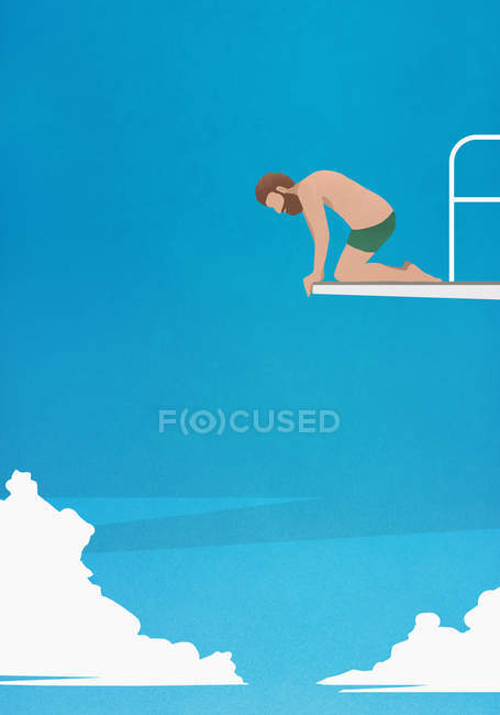 Anxious man at the edge of diving board, looking down — Stock Photo