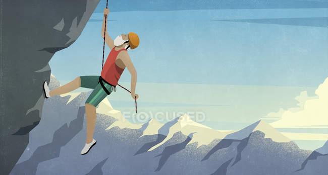 Senior male mountain climber scaling rock face — Stock Photo