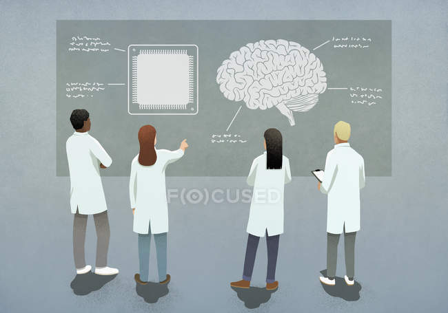 Scientifiques comparant puce d'ordinateur et diagramme du cerveau — Photo de stock