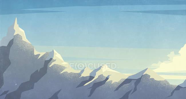 Сценический вид снежной вершины горы — стоковое фото