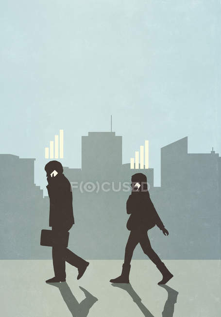 Cellular network bars above business people walking and talking on smartphones in city — Stock Photo