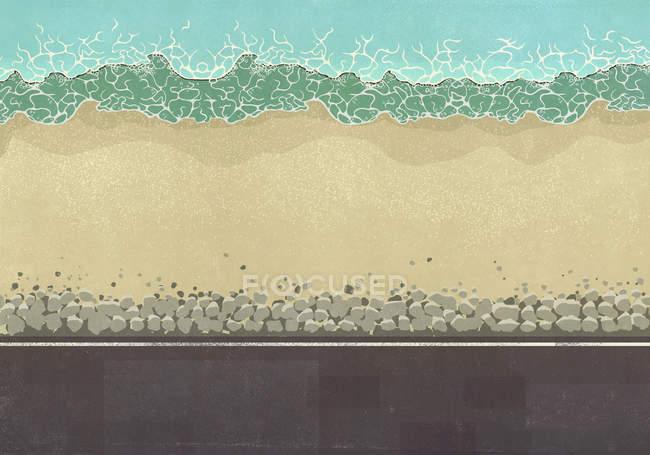 Vista dall'alto spiaggia soleggiata dell'oceano — Foto stock