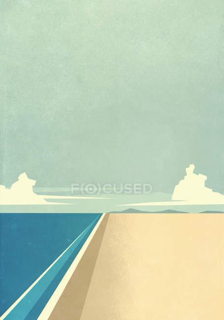 Tranquilo oceano praia e água — Fotografia de Stock