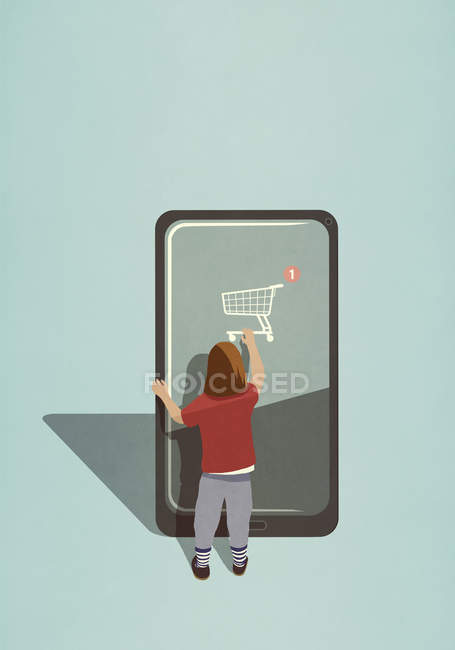 Girl using online shopping app on large smartphone — Stock Photo