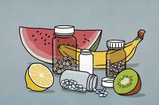 Still life fruit and supplement medication bottles — Stock Photo