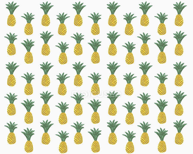 Illustration of pineapples on white background — Stock Photo