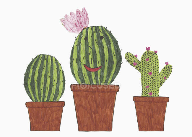 Illustration of anthropomorphic cacti in flowerpots — Stock Photo