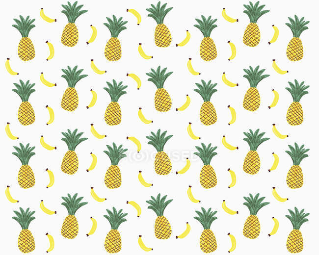 Illustration of yellow pineapples and bananas on white background — Stock Photo