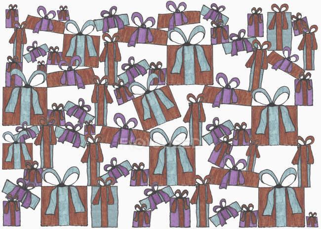 Illustrazione dei regali impilati su sfondo bianco — Foto stock